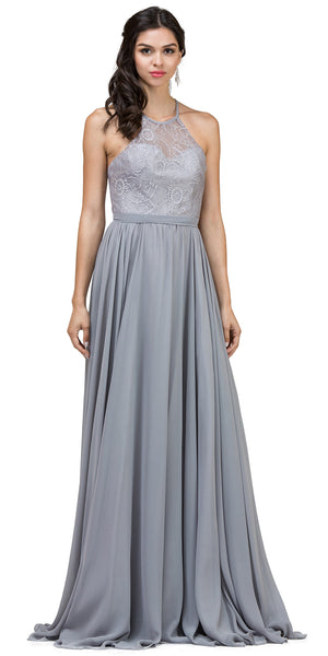 Main image of Lace Bodice Criss Cross Back Long Bridesmaid Dress