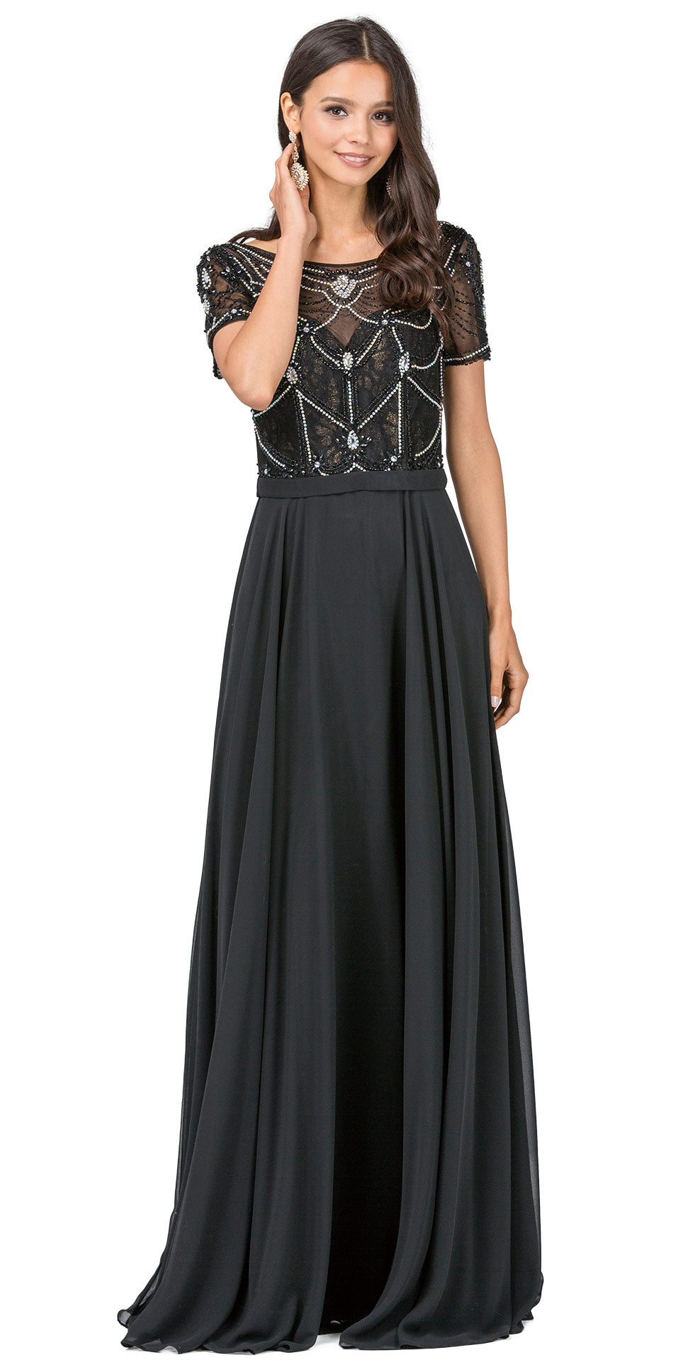 Image of Boat Neck Half Sleeves Beaded Mesh Top Long Formal Mob Dress in Black