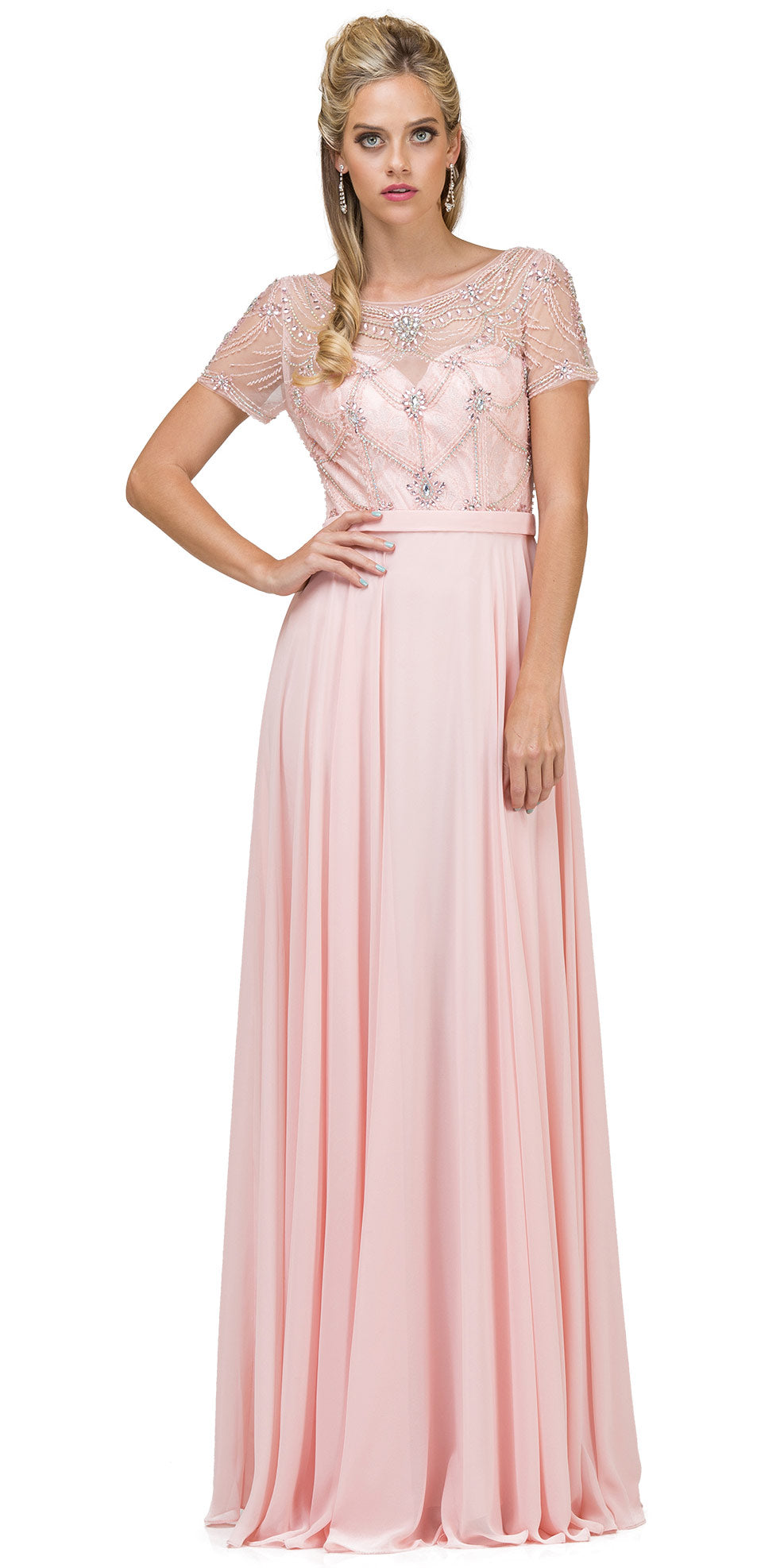 Image of Boat Neck Half Sleeves Beaded Mesh Top Long Formal Mob Dress in Blush