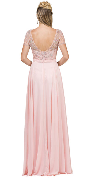Image of Boat Neck Half Sleeves Beaded Mesh Top Long Formal Mob Dress back in Blush