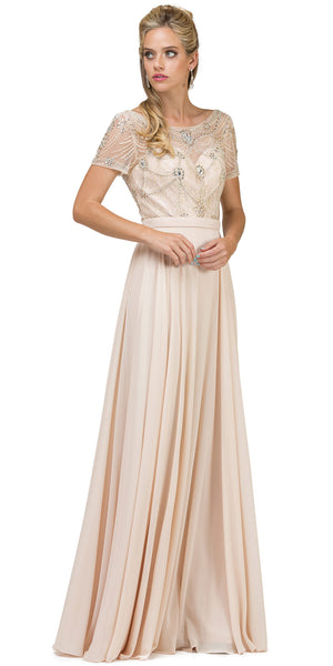 Main image of Boat Neck Half Sleeves Beaded Mesh Top Long Formal Mob Dress