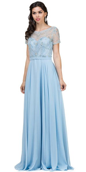 Image of Boat Neck Half Sleeves Beaded Mesh Top Long Formal Mob Dress in Sky Blue