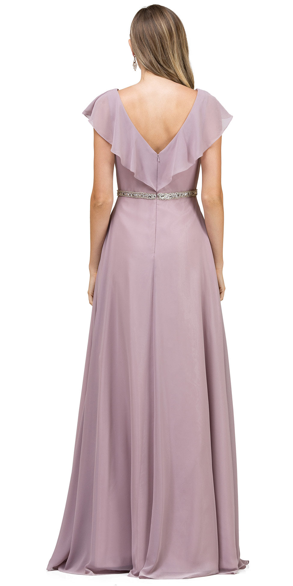 Back image of V-neck Ruffled Top Beaded Waist Long Chiffon Formal Dress