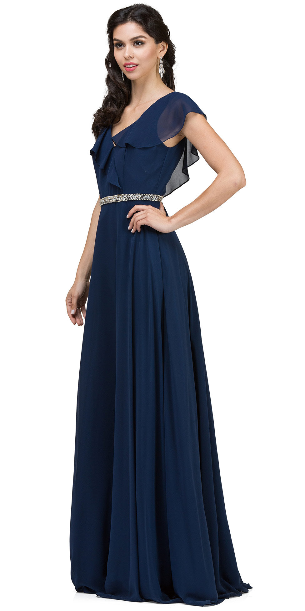 Main image of V-neck Ruffled Top Beaded Waist Long Chiffon Formal Dress