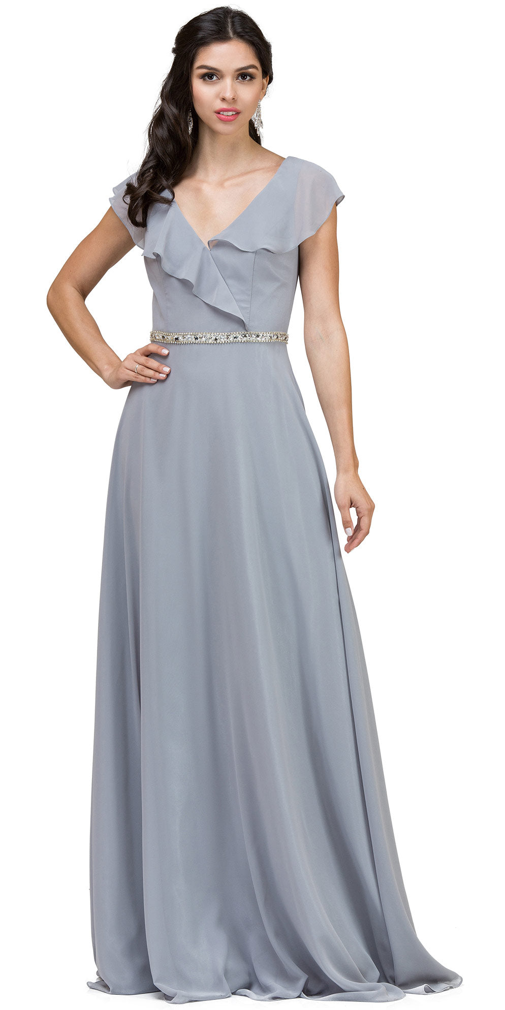 Image of V-neck Ruffled Top Beaded Waist Long Chiffon Formal Dress in Silver