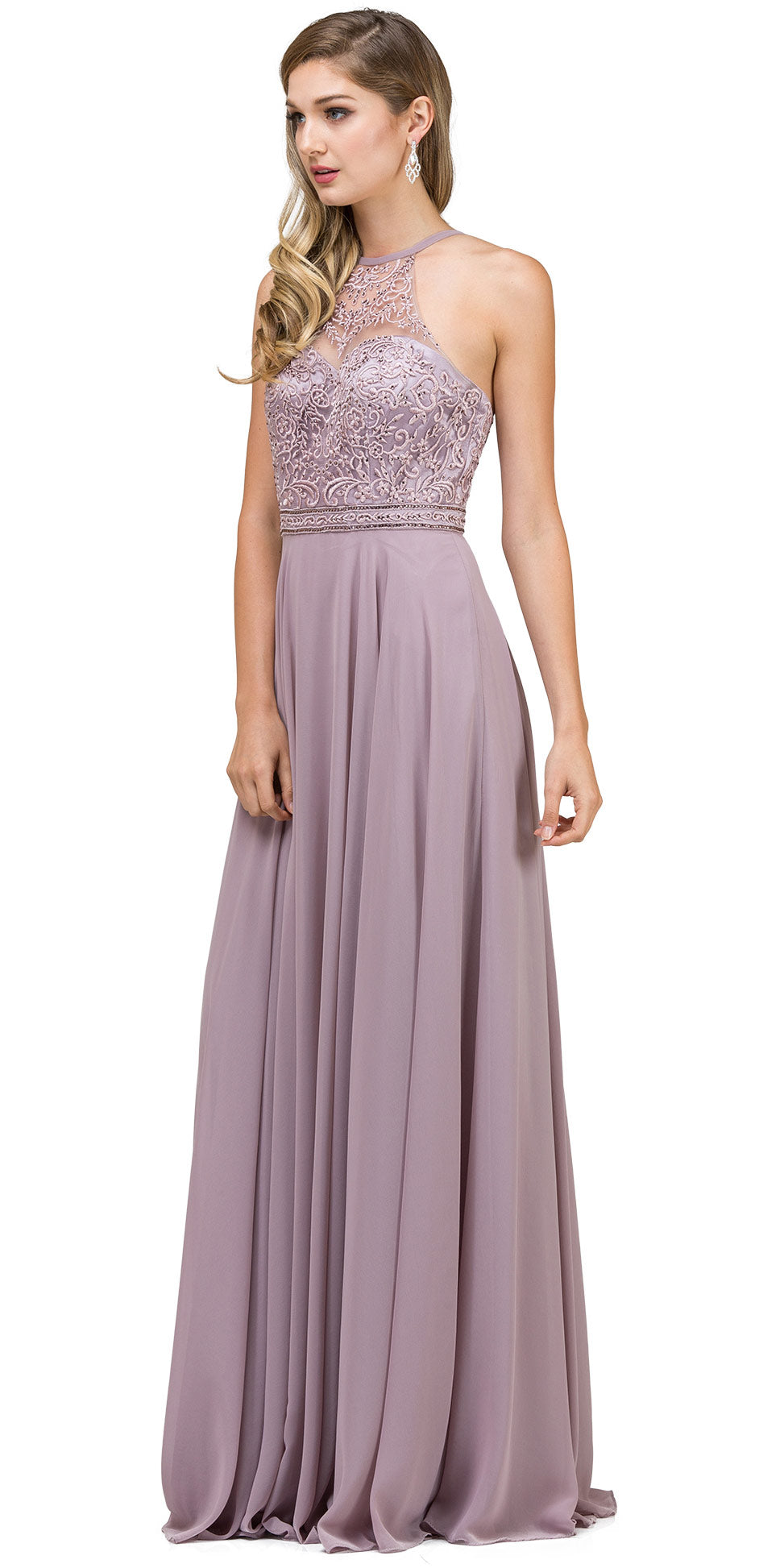 Main image of Embroidered Bodice High Neck Long Chiffon Prom Formal Dress