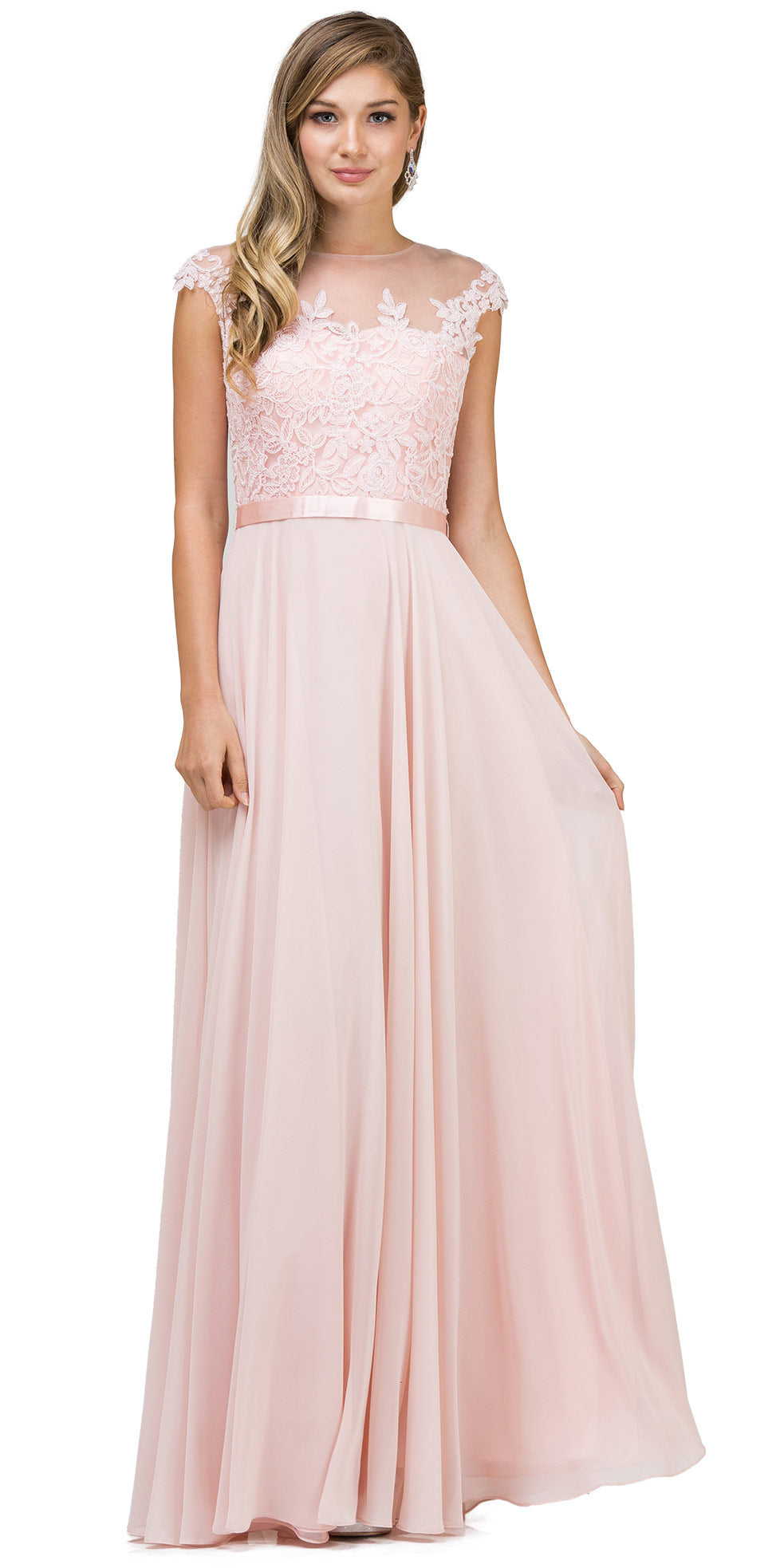 Image of Embroidered Mesh Bodice Long Chiffon Prom Formal Dress in Blush
