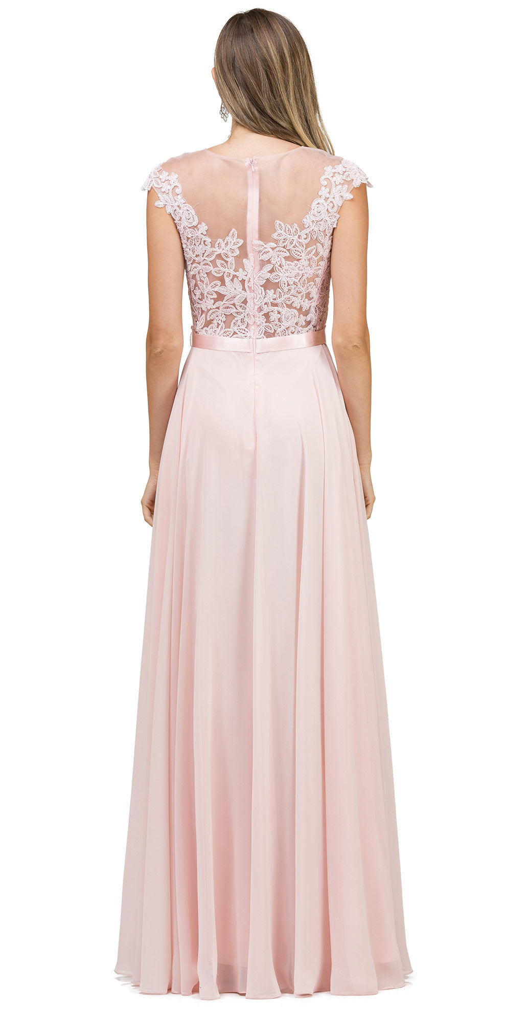 Back image of Embroidered Mesh Bodice Long Chiffon Prom Formal Dress