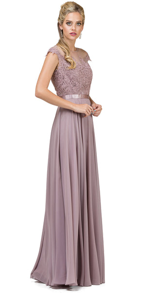 Image of Embroidered Mesh Bodice Long Chiffon Prom Formal Dress in Mocha