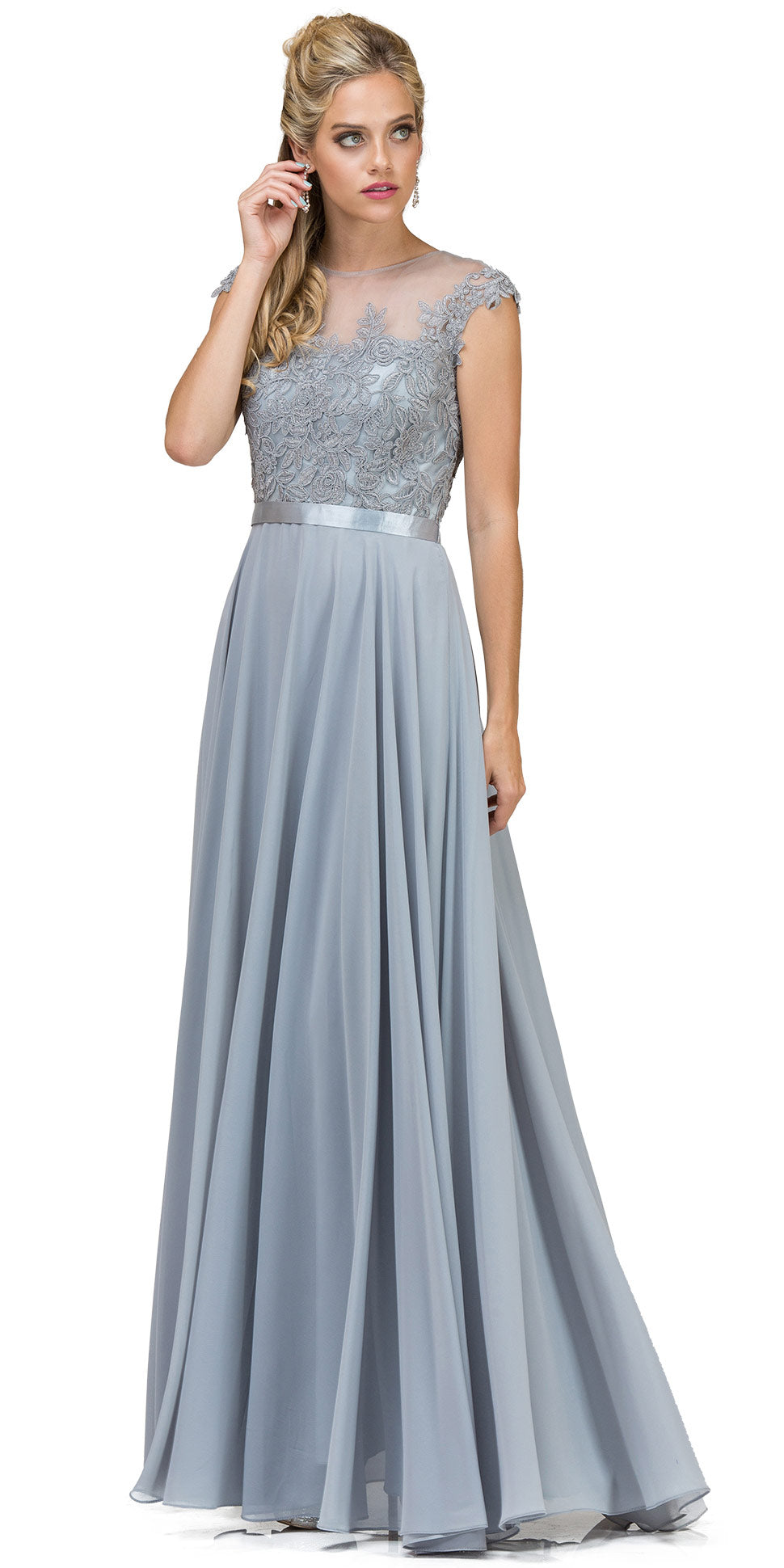 Image of Embroidered Mesh Bodice Long Chiffon Prom Formal Dress in Silver