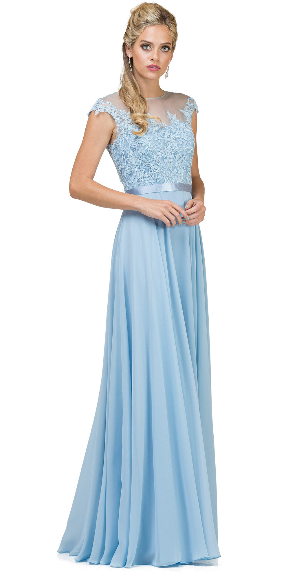 Main image of Embroidered Mesh Bodice Long Chiffon Prom Formal Dress