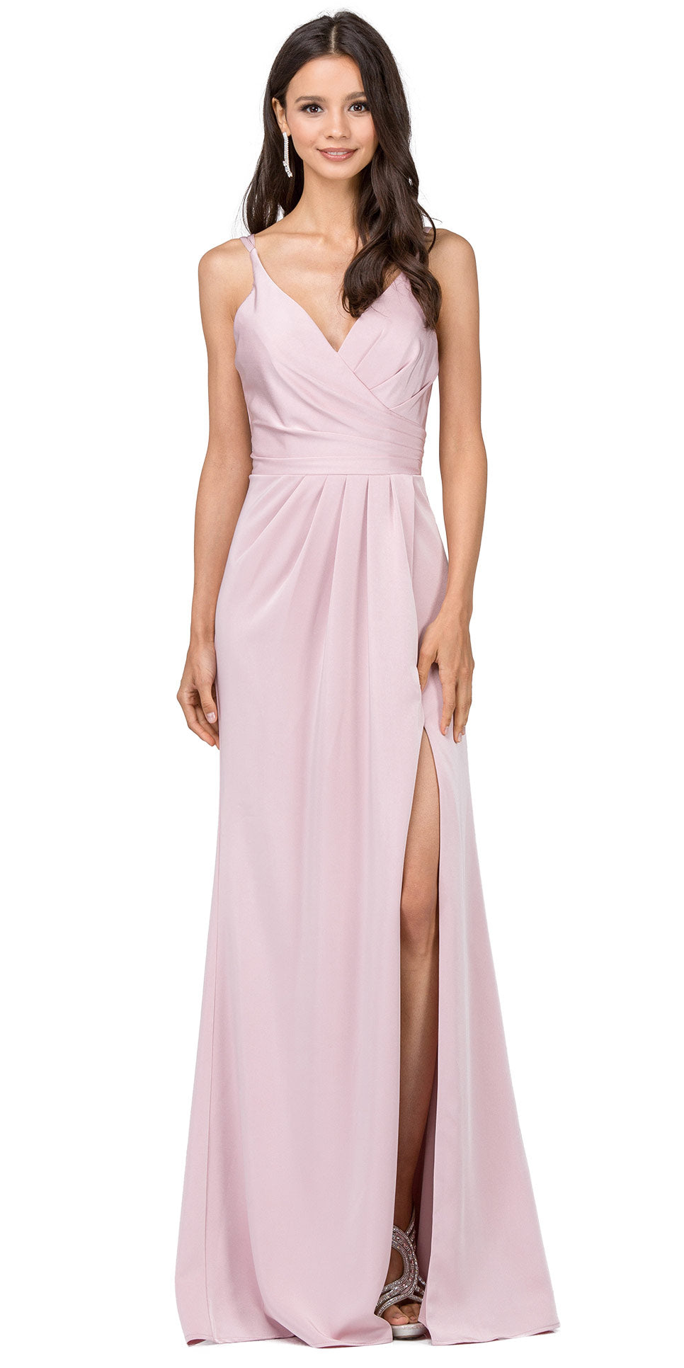 Main image of Deep V-neck Pleated Bust Long Satin Formal Evening Dress