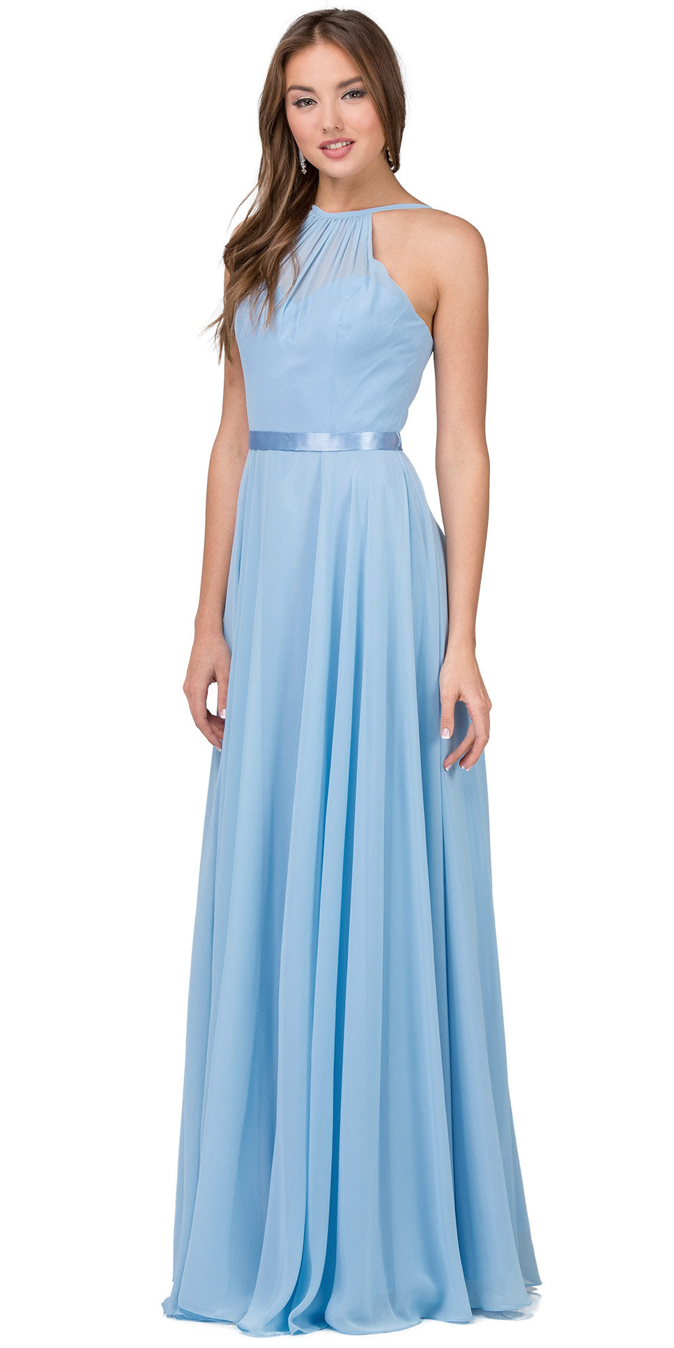 Main image of A-line High Neck Chiffon Long Bridesmaid Dress
