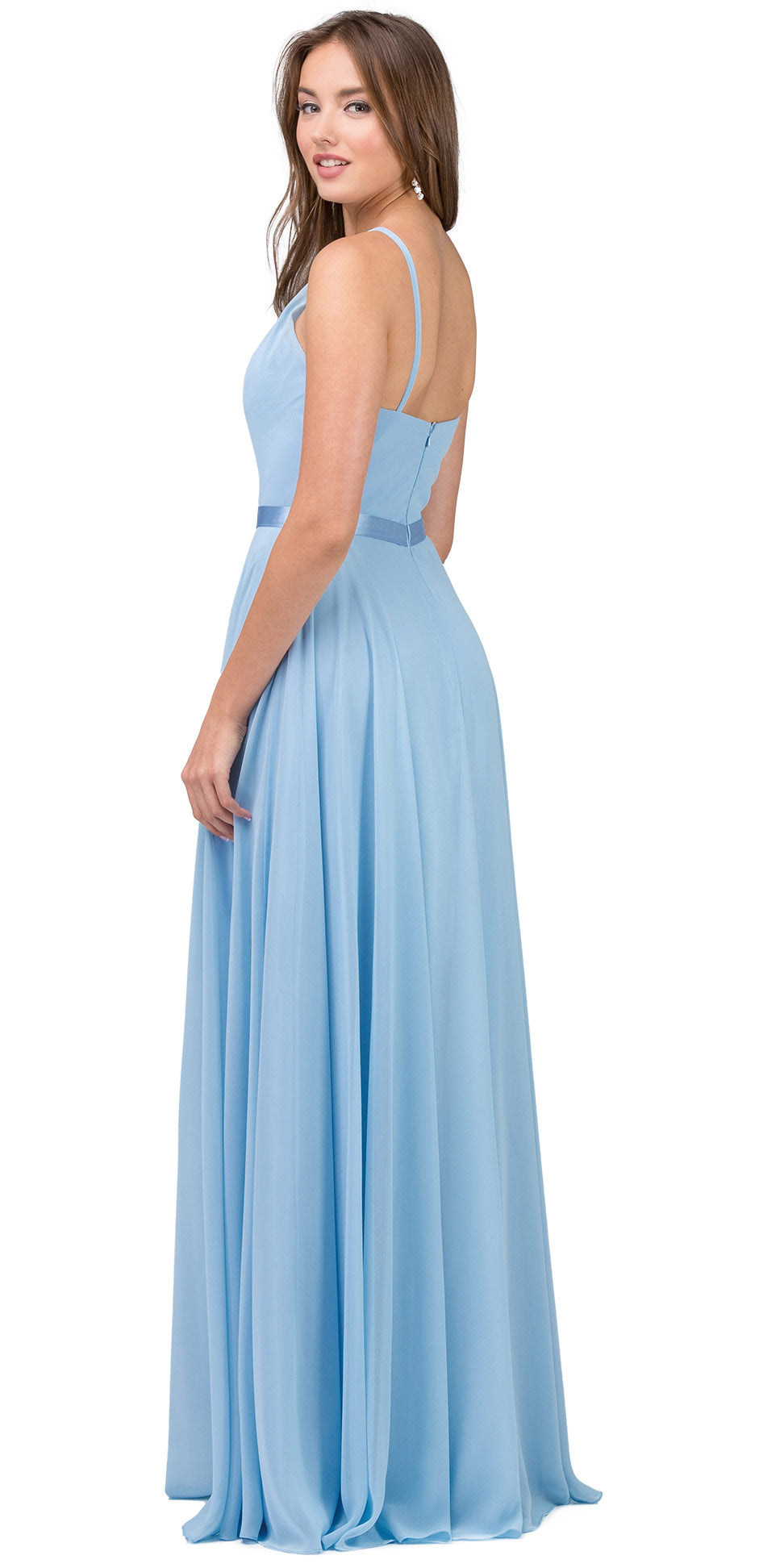 Back image of A-line High Neck Chiffon Long Bridesmaid Dress