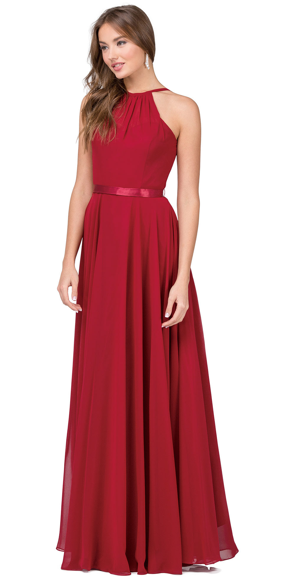 Image of A-line High Neck Chiffon Long Bridesmaid Dress in Burgundy