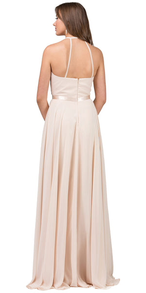 Image of A-line High Neck Chiffon Long Bridesmaid Dress back in Champaign