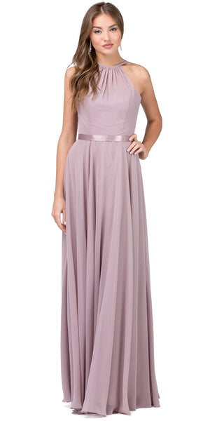 Image of A-line High Neck Chiffon Long Bridesmaid Dress in Mocha