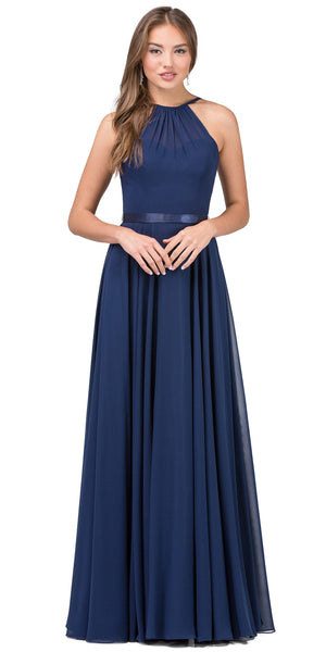 Image of A-line High Neck Chiffon Long Bridesmaid Dress in Navy