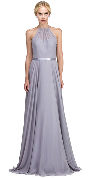 Image of A-line High Neck Chiffon Long Bridesmaid Dress in Silver