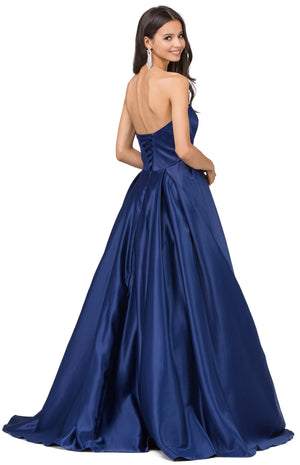Image of Strapless Puffy Skirt Long Prom Dress With Lace-up Corset back in Navy
