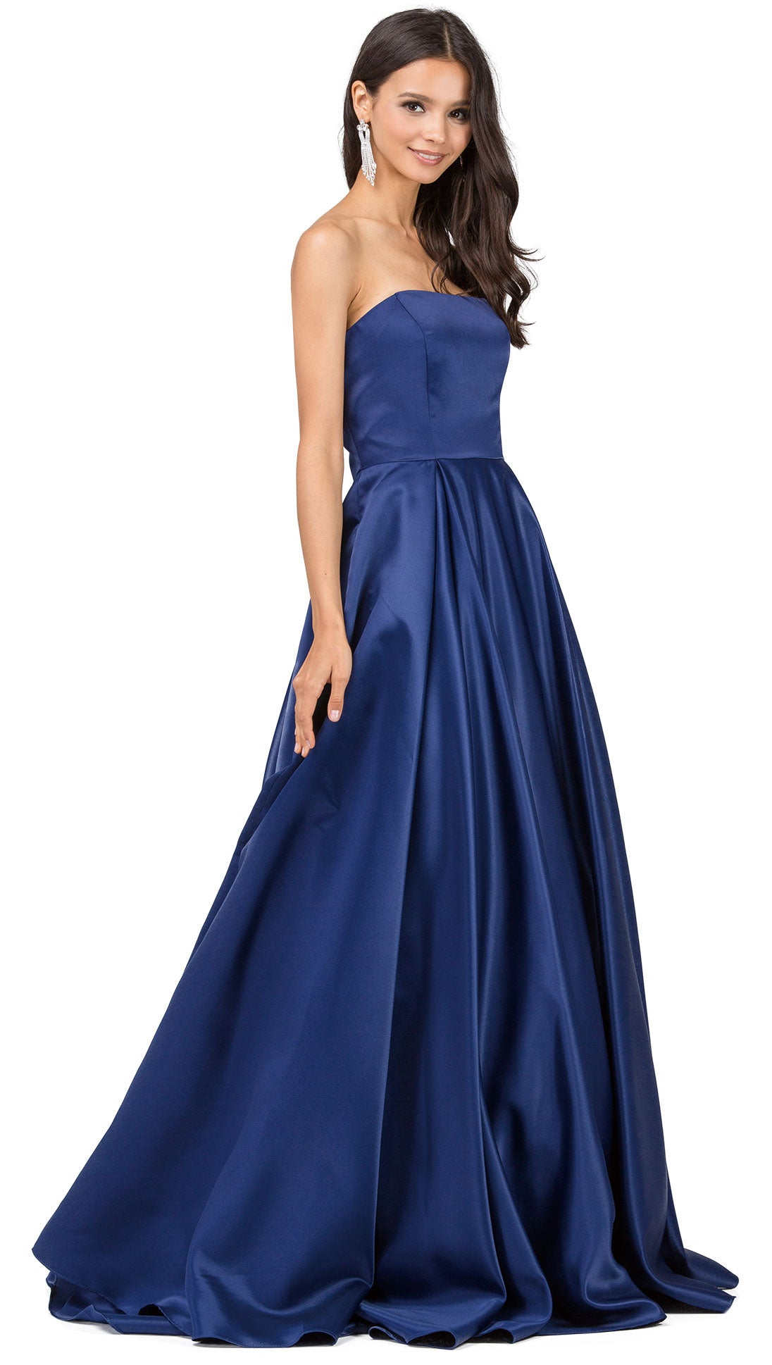 Image of Strapless Puffy Skirt Long Prom Dress With Lace-up Corset in Navy
