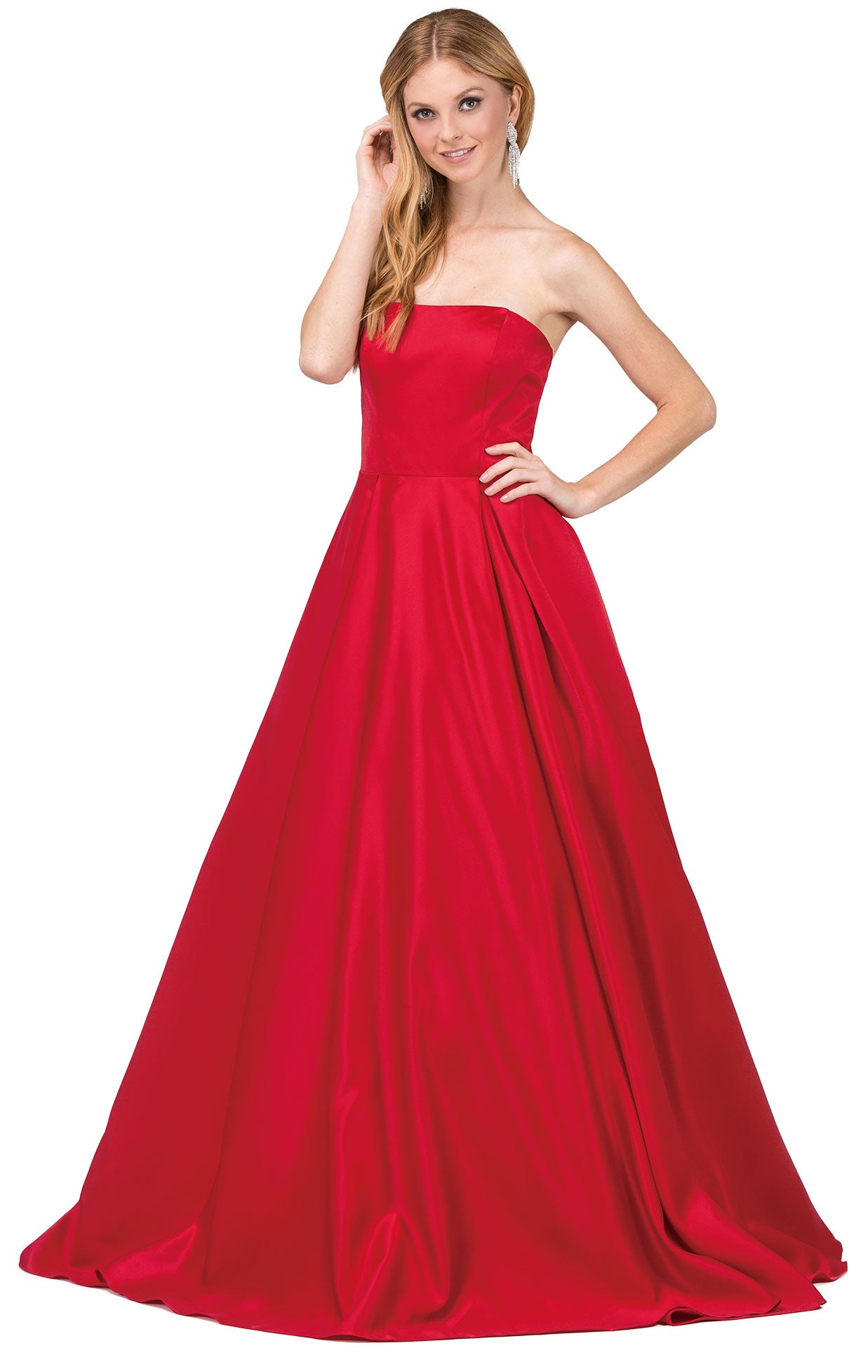 Image of Strapless Puffy Skirt Long Prom Dress With Lace-up Corset in Red