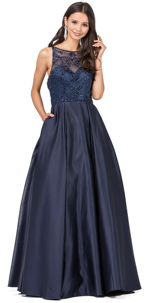 Image of A-line Beaded Bodice Puffy Skirt Long Prom Dress. in Navy