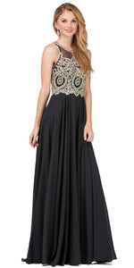Image of Sleeveless Beaded Lace Mesh Bodice Long Formal Prom Dress in Black