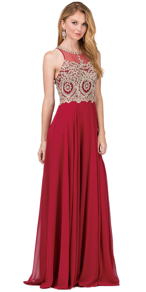 Image of Sleeveless Beaded Lace Mesh Bodice Long Formal Prom Dress in Burgundy