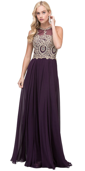 Main image of Sleeveless Beaded Lace Mesh Bodice Long Formal Prom Dress
