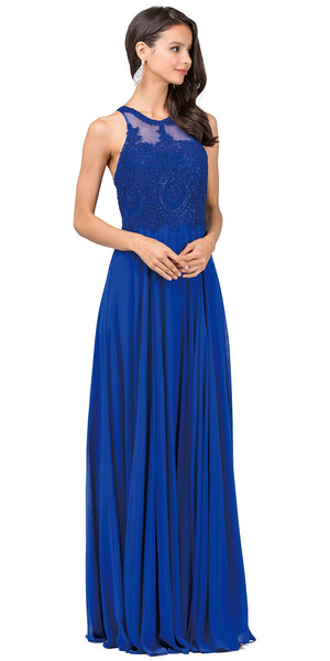 Image of Sleeveless Beaded Lace Mesh Bodice Long Formal Prom Dress in Royal Blue