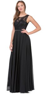 Image of Lace Bodice Beaded Waist Long Chiffon Bridesmaid Dress in Black