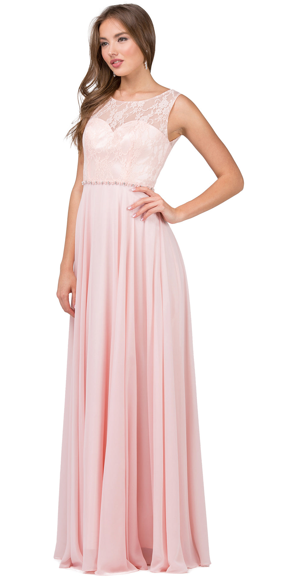 Main image of Lace Bodice Beaded Waist Long Chiffon Bridesmaid Dress