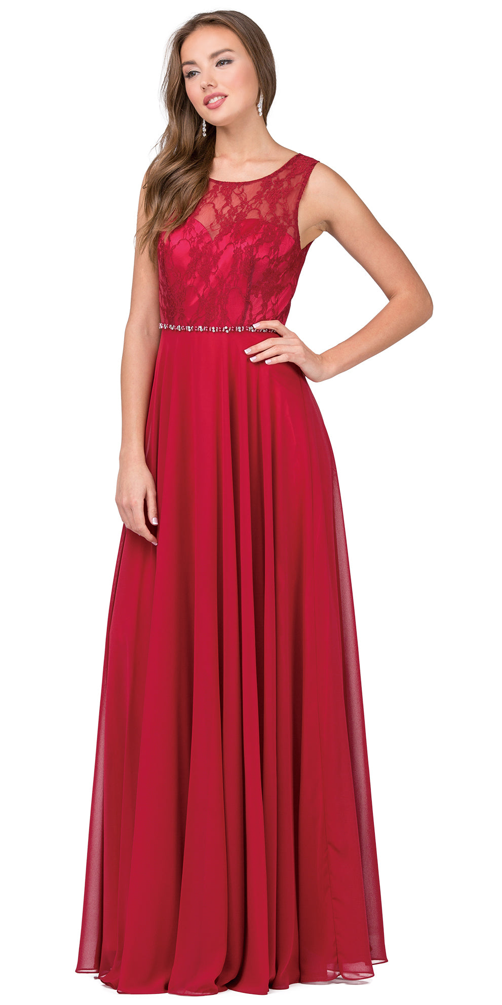 Image of Lace Bodice Beaded Waist Long Chiffon Bridesmaid Dress in Burgundy
