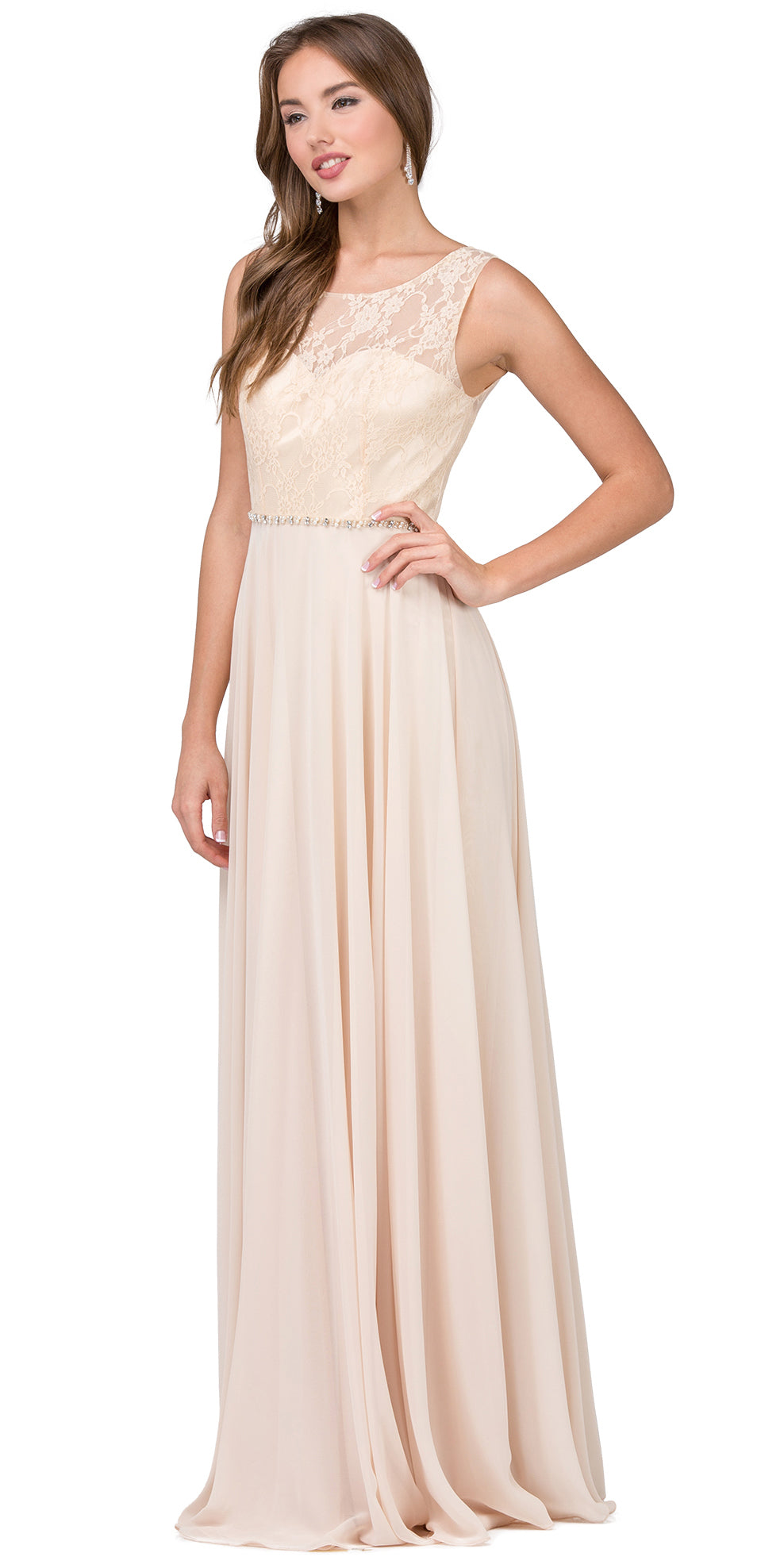 Image of Lace Bodice Beaded Waist Long Chiffon Bridesmaid Dress in Champaign