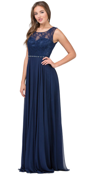 Image of Lace Bodice Beaded Waist Long Chiffon Bridesmaid Dress in Navy