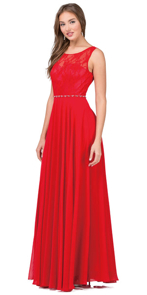 Image of Lace Bodice Beaded Waist Long Chiffon Bridesmaid Dress in Red