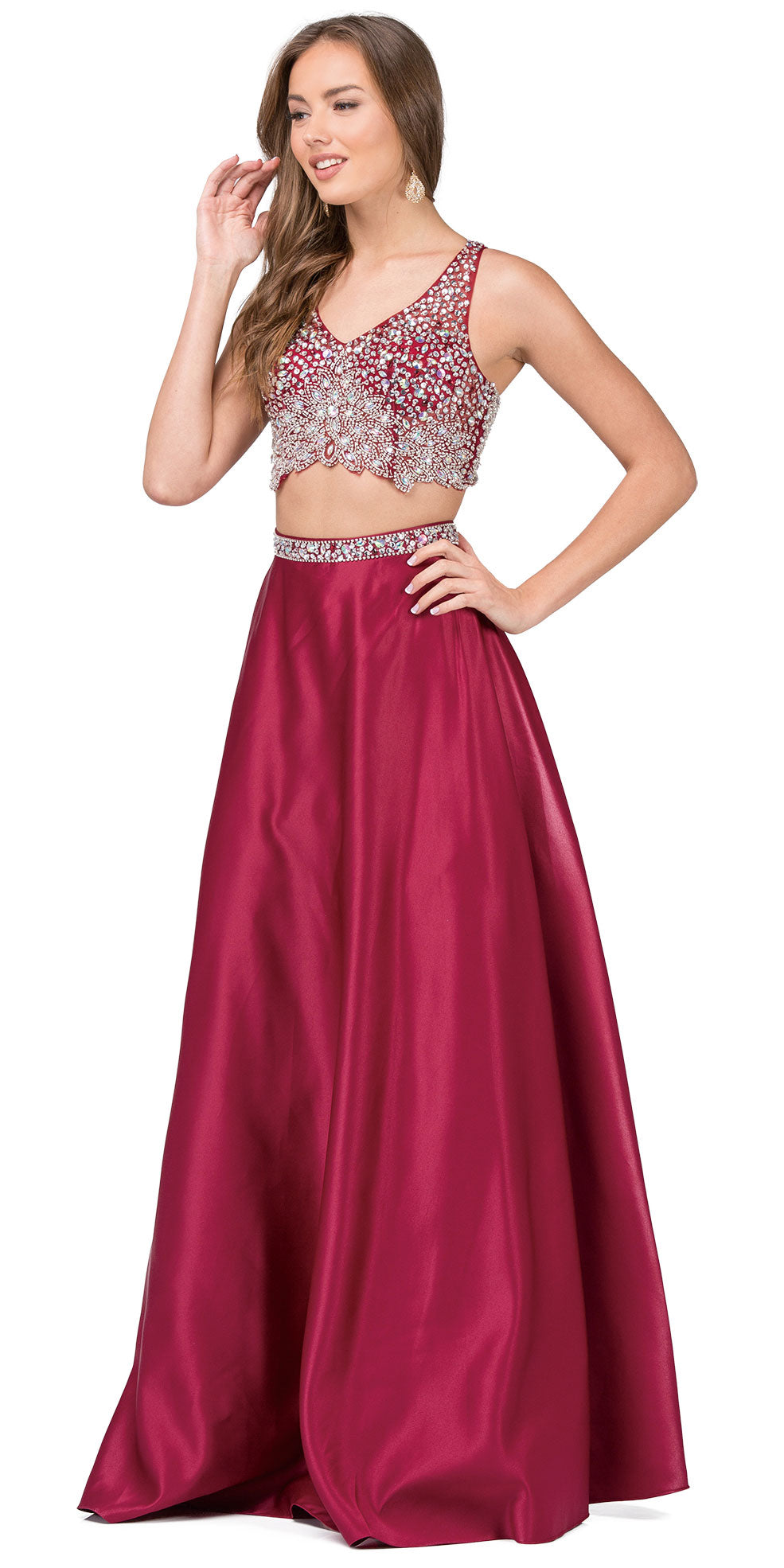 Main image of V-neck Bejeweled Top Long Satin Skirt Two Piece Prom Dress
