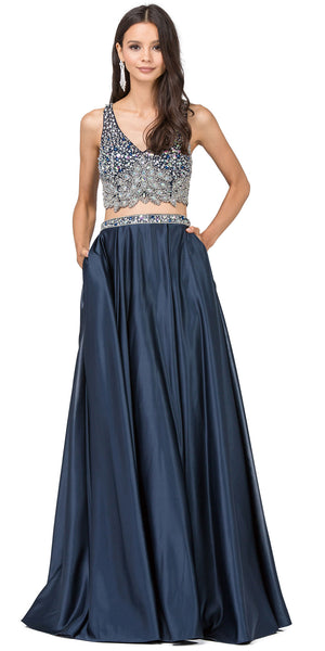 Image of V-neck Bejeweled Top Long Satin Skirt Two Piece Prom Dress in Navy