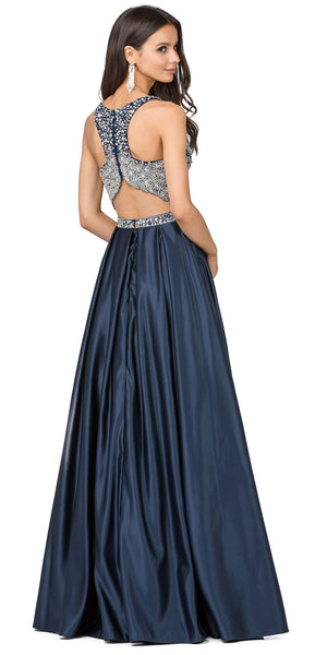 Back image of V-neck Bejeweled Top Long Satin Skirt Two Piece Prom Dress