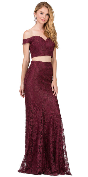 Image of Off-the-shoulder Floral Lace Two Piece Long Prom Dress in Burgundy
