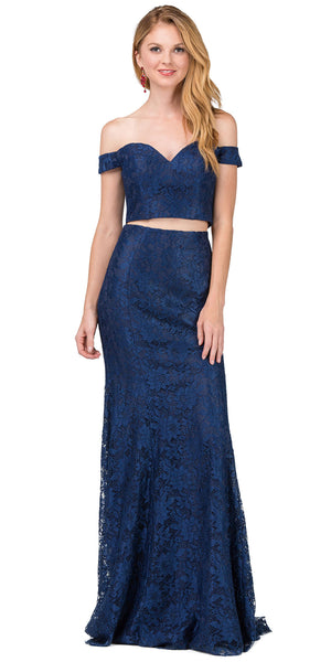 Image of Off-the-shoulder Floral Lace Two Piece Long Prom Dress in Navy