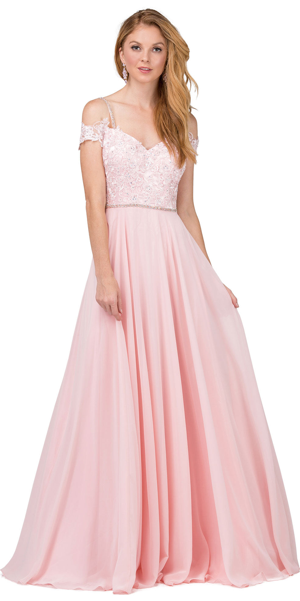 Image of Cold Shoulder Beaded Lace Bodice Long Prom Dress in Blush