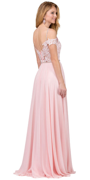 Image of Cold Shoulder Beaded Lace Bodice Long Prom Dress back in Blush