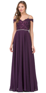 Image of Cold Shoulder Beaded Lace Bodice Long Prom Dress in Plum