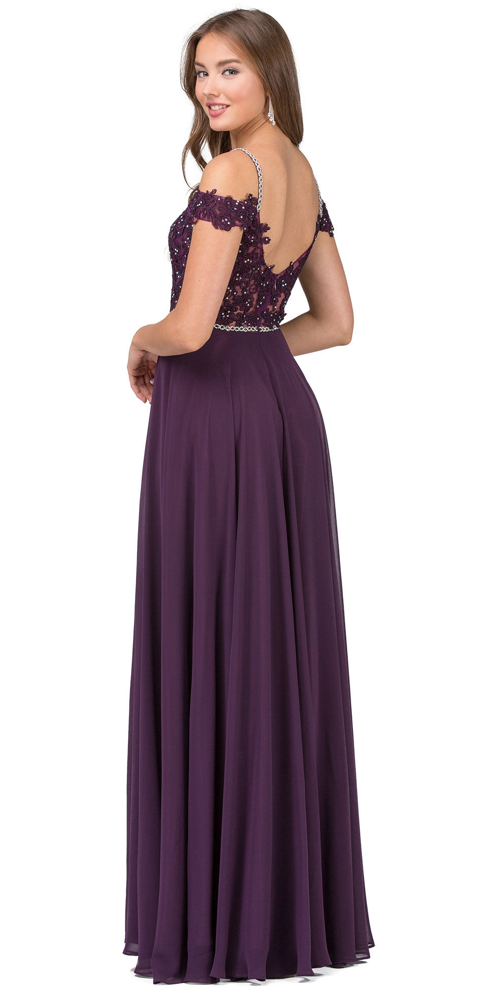 Back image of Cold Shoulder Beaded Lace Bodice Long Prom Dress