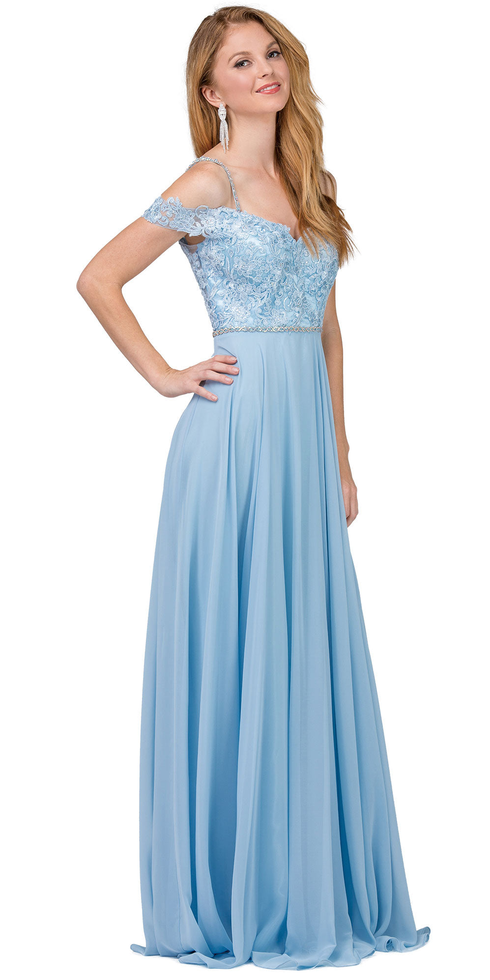 Main image of Cold Shoulder Beaded Lace Bodice Long Prom Dress