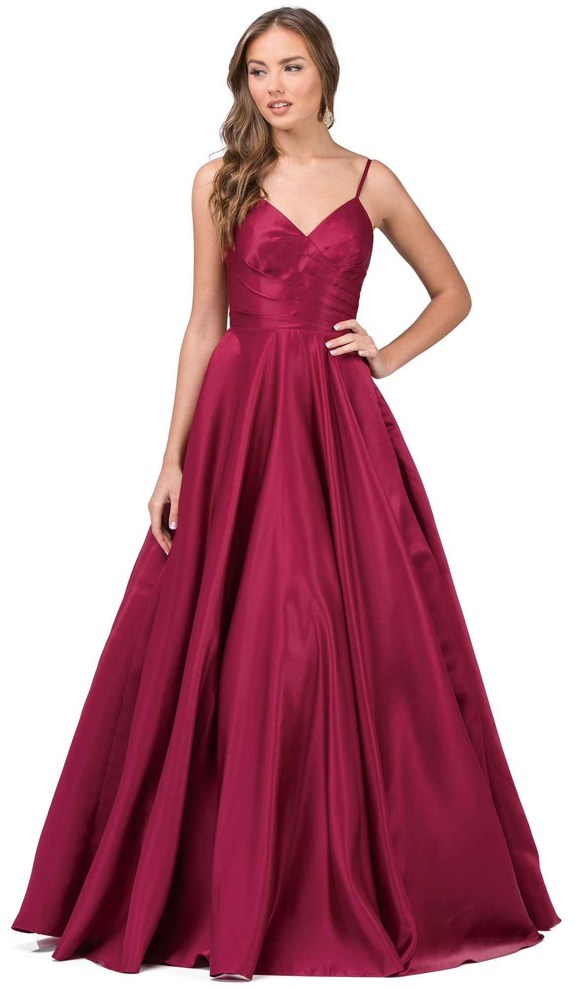 Main image of V-neck Adjustable Straps Pleated Bust Long Prom Dress