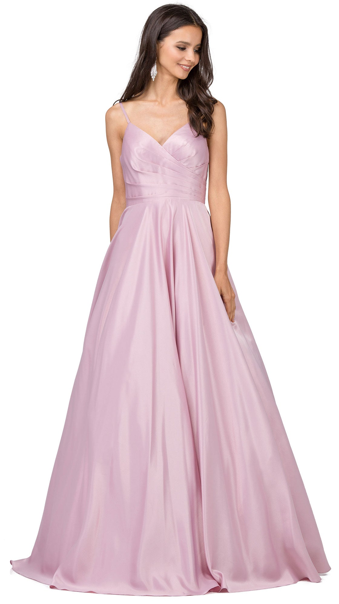 Image of V-neck Adjustable Straps Pleated Bust Long Prom Dress in Dusty Pink