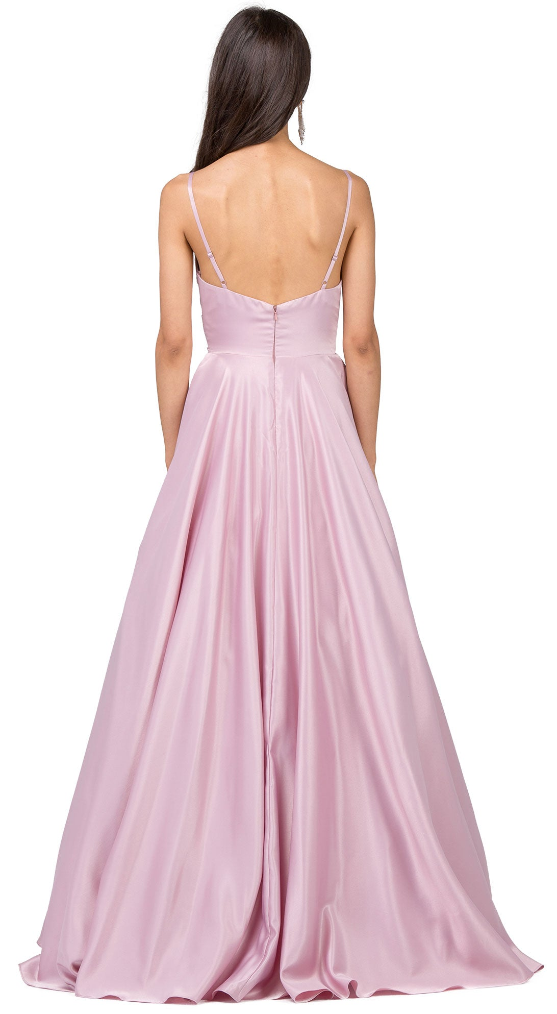Image of V-neck Adjustable Straps Pleated Bust Long Prom Dress back in Dusty Pink